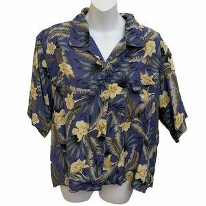 Bamboo Traders 100% Silk Tropical Hawaiian Shirt
